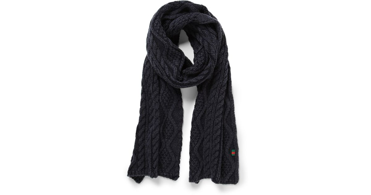 6166457b2c4 Lyst - Gucci Cableknit Wool Scarf in Blue for Men