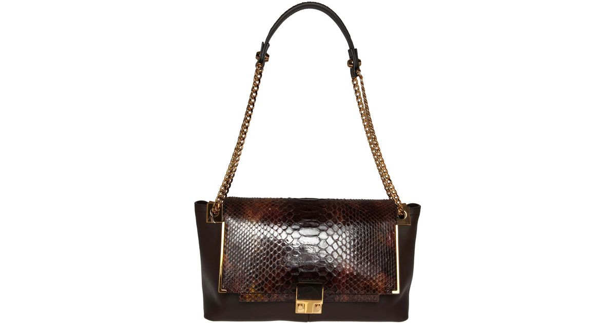 aa56e853ffd3 Lanvin Brown Partition Python Bag in Brown - Lyst