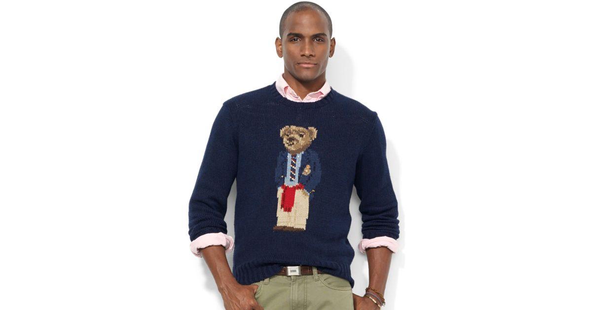 Sweater Crew For Polo Ralph Neck Intarsiaknit Lauren Bear Men Blue TXuiOPkZ
