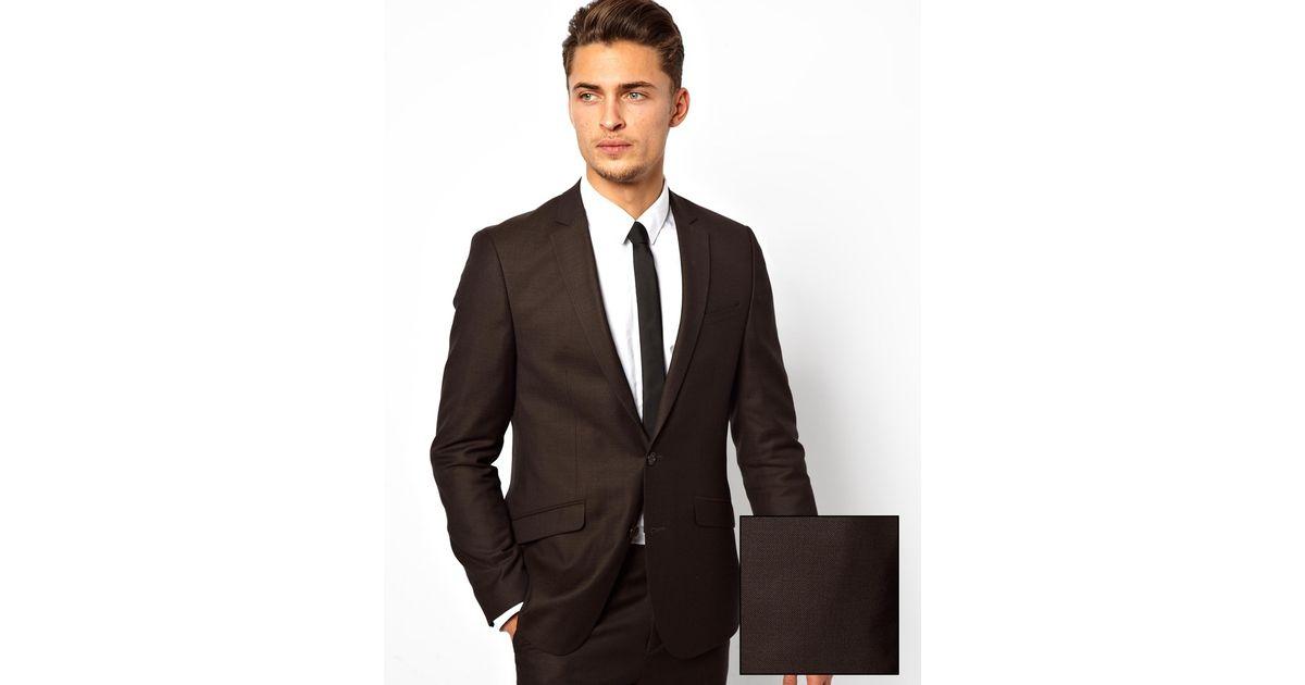 Asos Slim Fit Suit Jacket In Window Pane Check in Brown for Men | Lyst