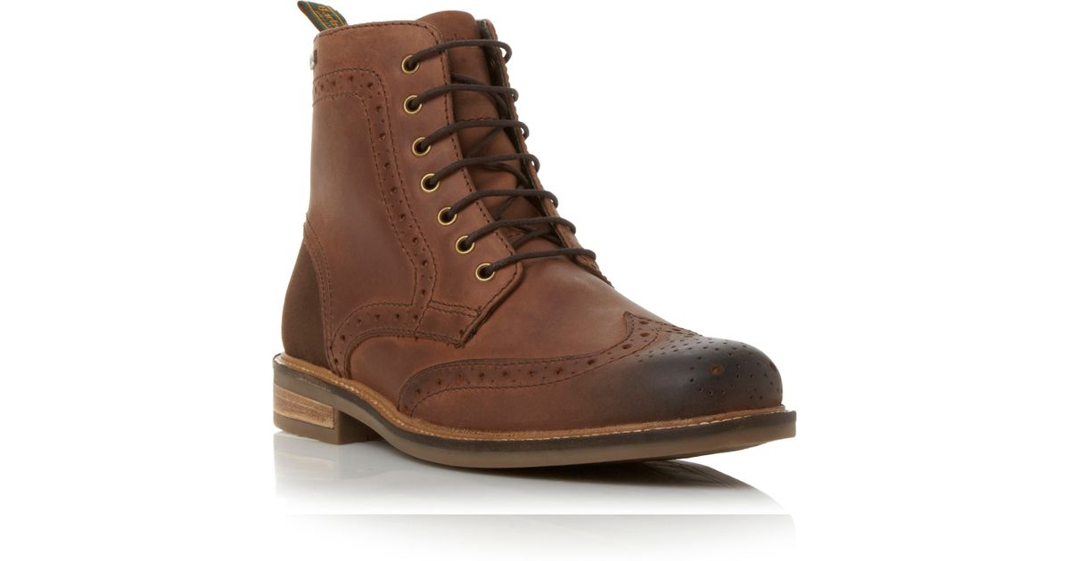 7e0cde28991 Barbour Brown Belsay Wingtip Brogue Boot for men