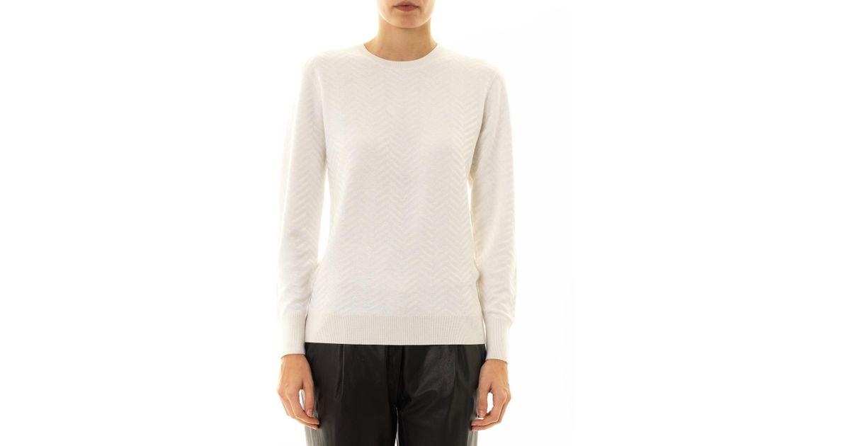 7327e1695fe Theory Hannalor Chevronknit Sweater in White - Lyst