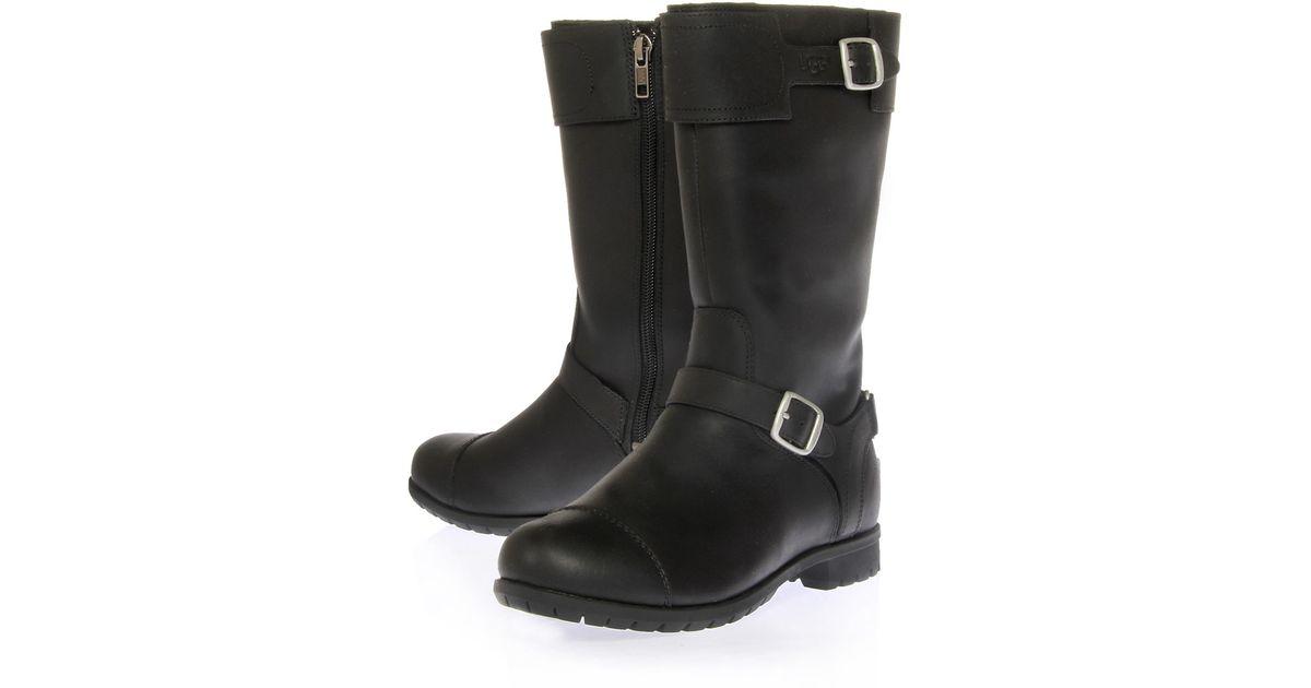 8a071c7b01d UGG Black Gershwin Leather Biker Boots