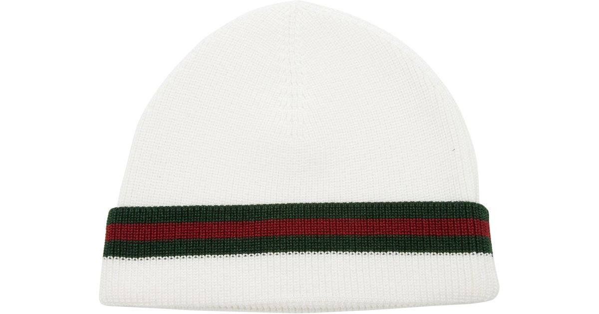 081dc2a90bac Gucci Knit Hat in White for Men - Lyst