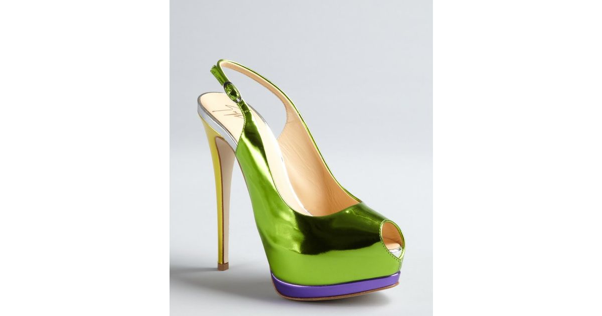 b59508027de6 Lyst – Giuseppe Zanotti Green Yellow and Purple Mirrored Leather Slingback  Pumps in Green
