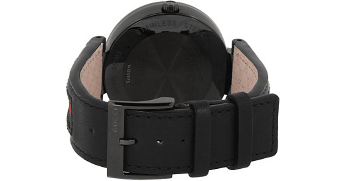 2f0ab56d6da Lyst - Gucci Interlocking 42mm Leather And Nylon Strap Watch-ya133206 in  Black for Men