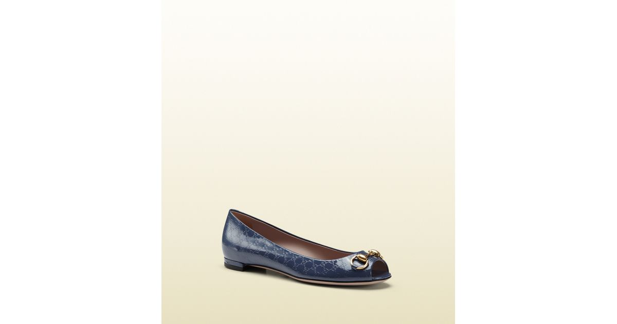 1c818029a Lyst - Gucci Jolene Patent Leather Ballet Flat in Blue
