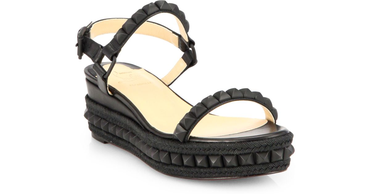 3c21d104f8de Christian louboutin Cataclou Studded Wedge Sandals in Black