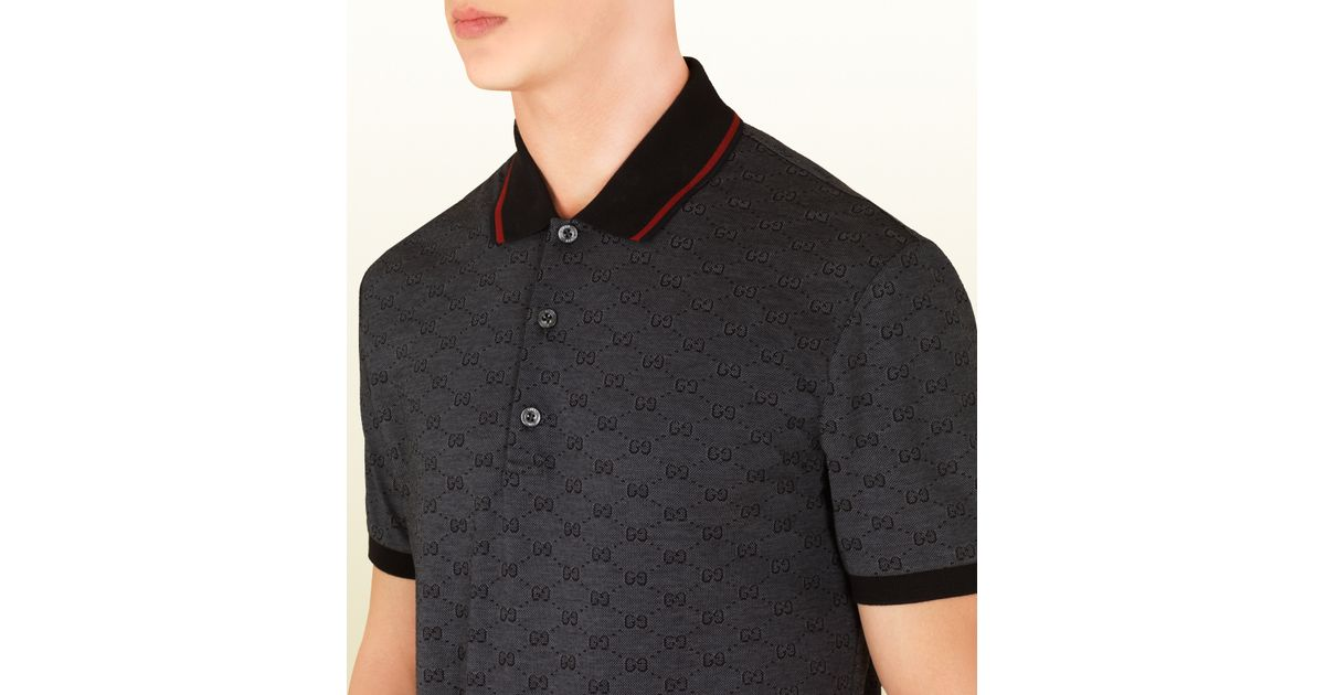 02e48184091aa Gucci Dark Grey Pique Gg Jacquard Short Sleeve Polo in Gray for Men - Lyst
