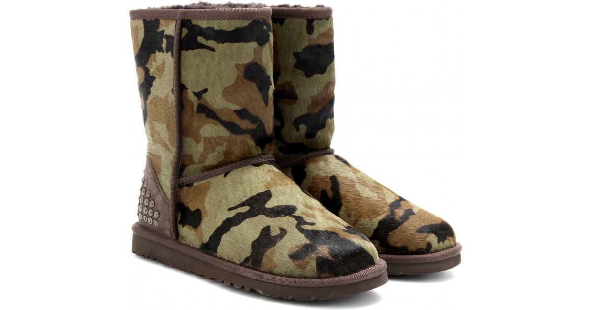 cfc2bb2e453 UGG Green Rowland Pony Hair Camouflage Short Boots