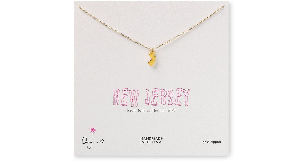 Lyst dogeared state of mind new jersey necklace 18 in metallic aloadofball Images