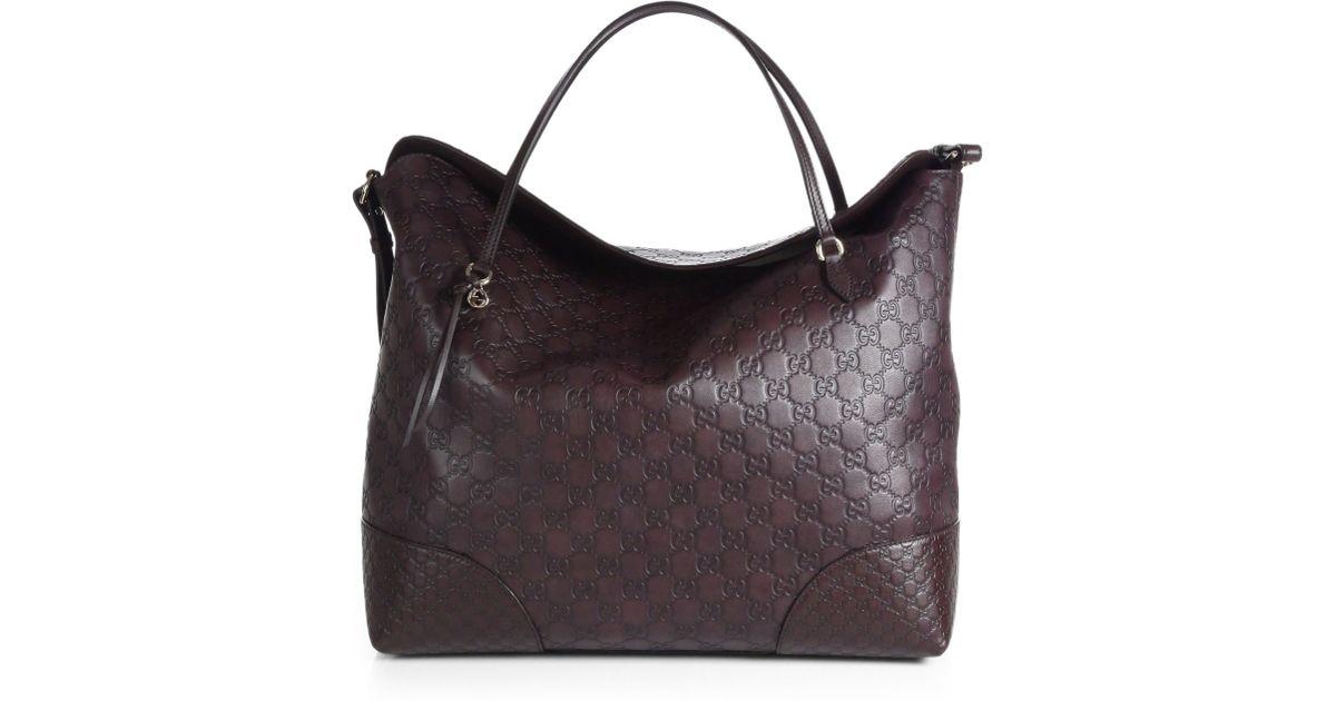 34eb08cd7d83 Lyst - Gucci Bree Ssima Leather Tote in Black