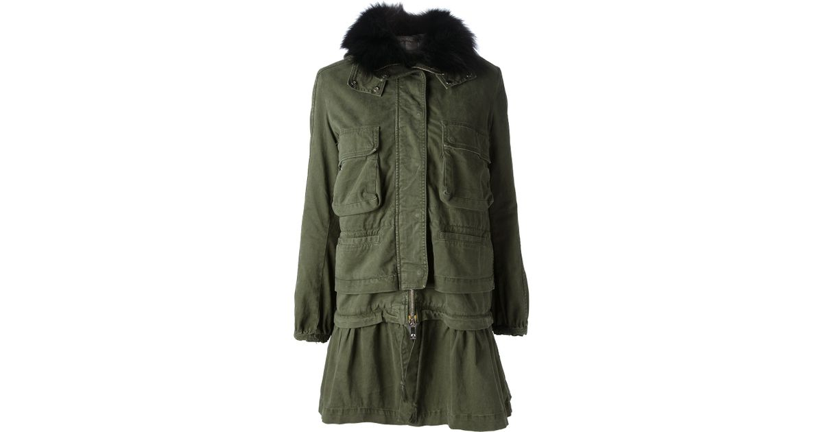 8101d007169 Lyst - Pinko Fur Collar Parka in Green