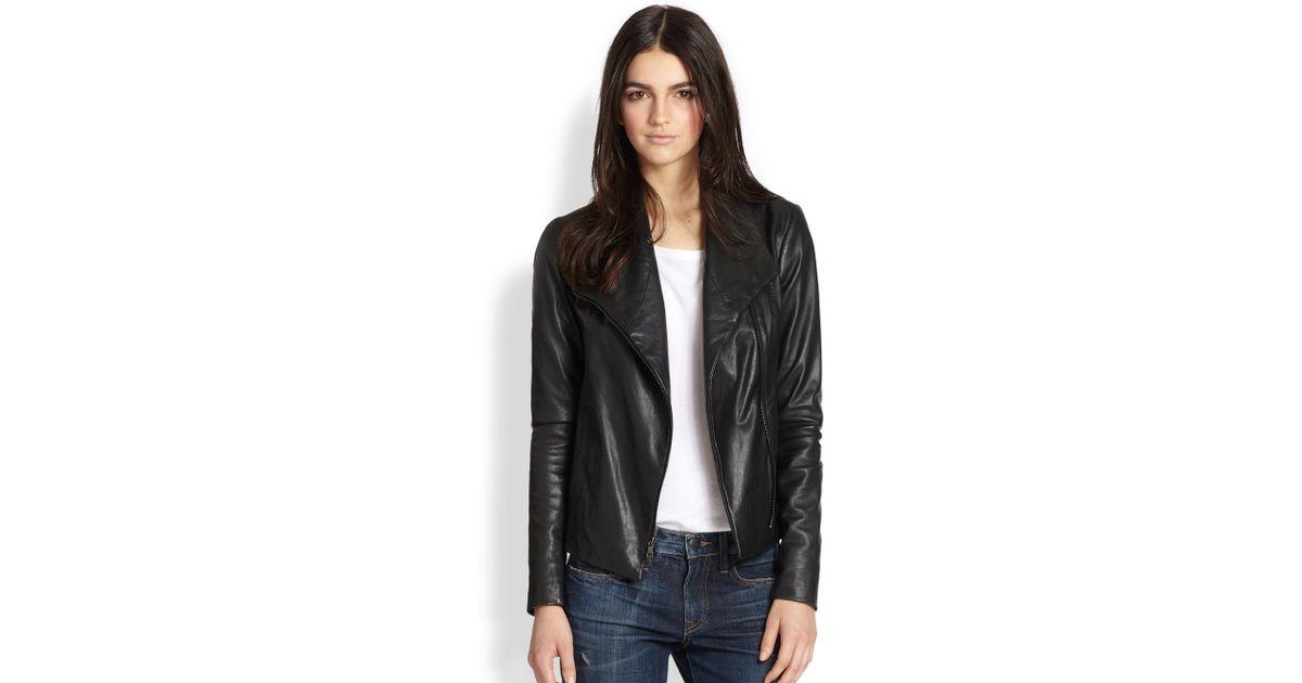 Vince Leather Scuba Jacket In Black Lyst
