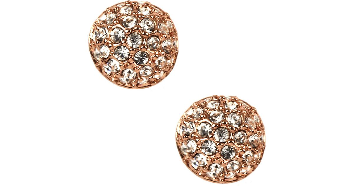 Lyst Givenchy Rose Gold Plated Crystal On Stud Earrings In Metallic