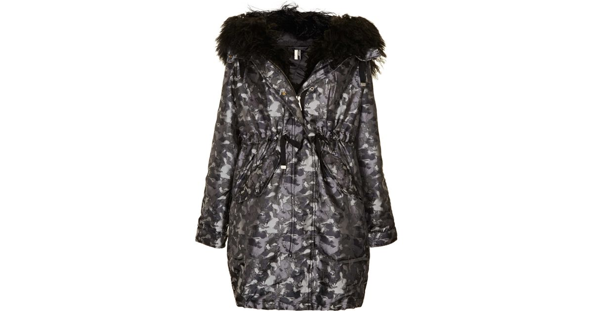 bb07b94d6abae TOPSHOP Camouflage Padded Parka in Metallic - Lyst