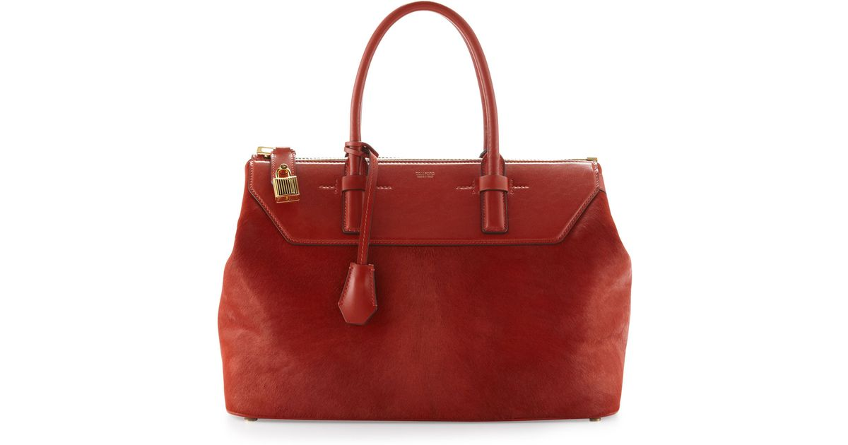 Tom Ford Red Womens Calf Hair Zip Doctor Bag Rust
