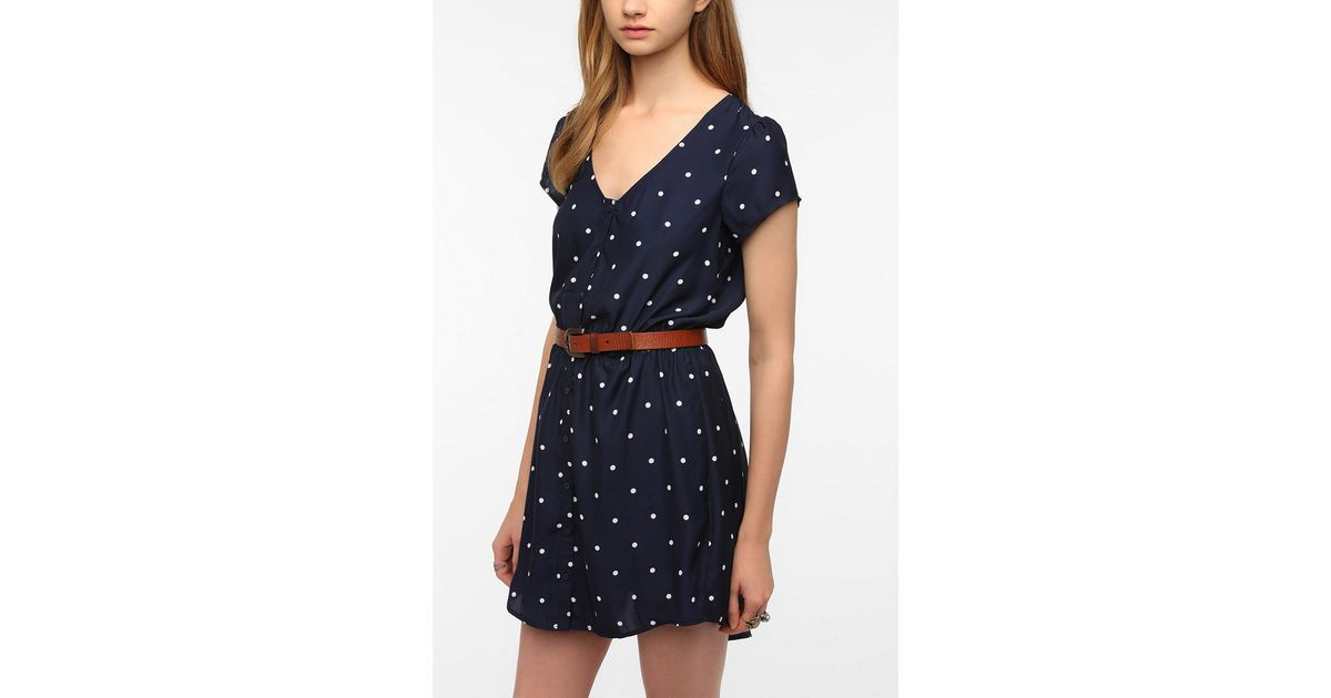 b76e63adc9f Lyst - Urban Outfitters Kimchi Blue Silky Sabrina Shirtdress in Blue