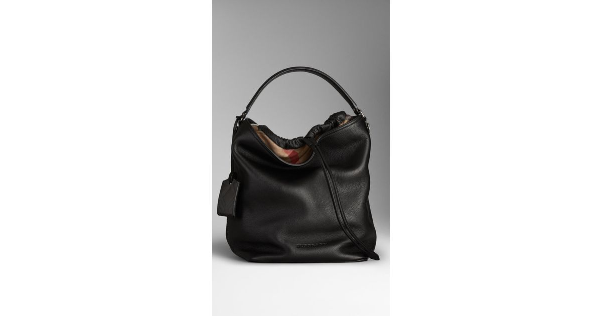 f59c844b0b13 Burberry Ashby Medium Colorblock Check Canvas Hobo Bag Black
