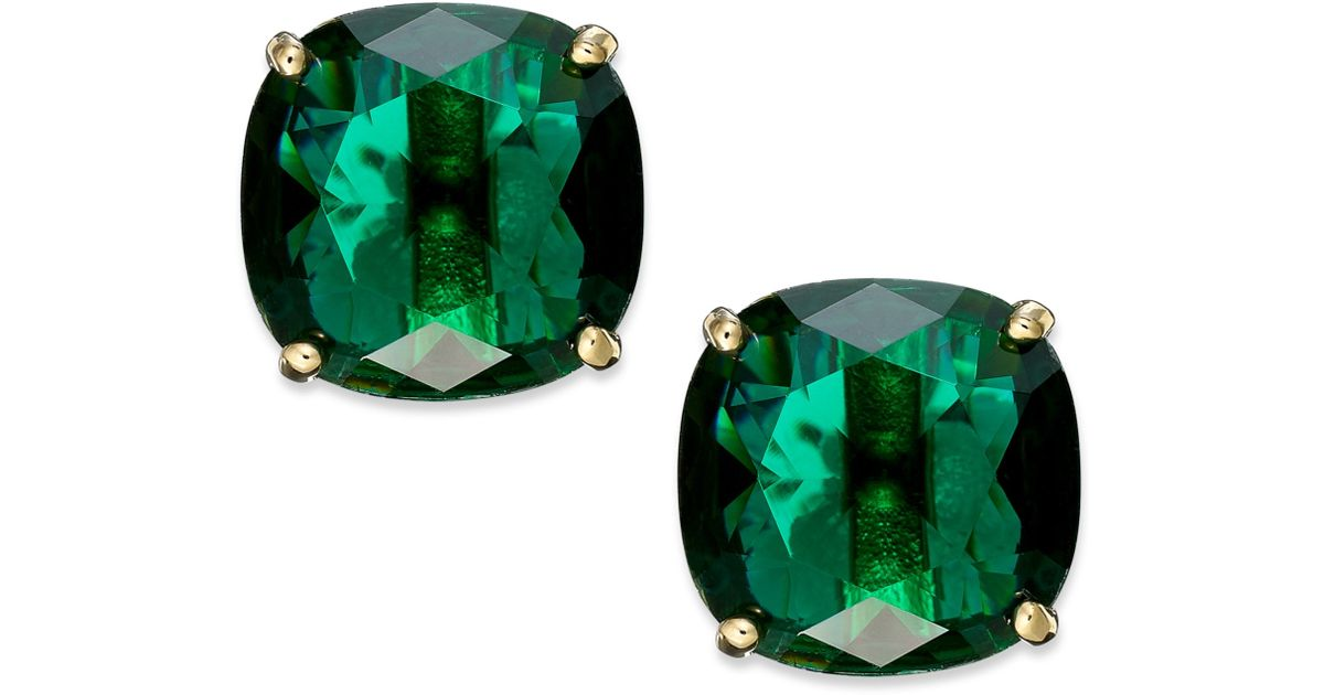 Kate Spade New York Goldtone Green Stone Square Stud Earrings