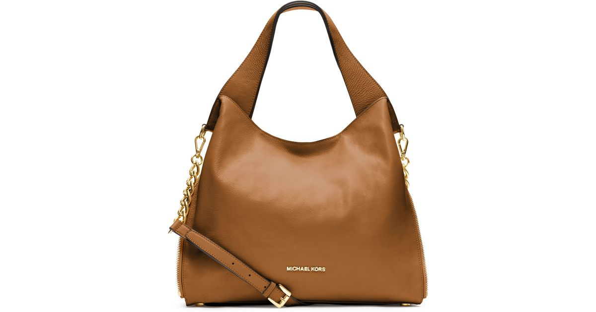 f9a211cbdf190 Lyst - MICHAEL Michael Kors Large Devon Shoulder Tote in Brown
