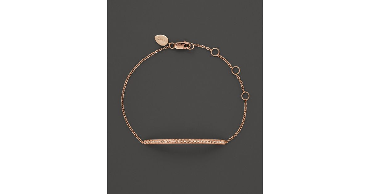 Meira t 14K Rose Gold Bar Bracelet With Brown Diamonds in Pink