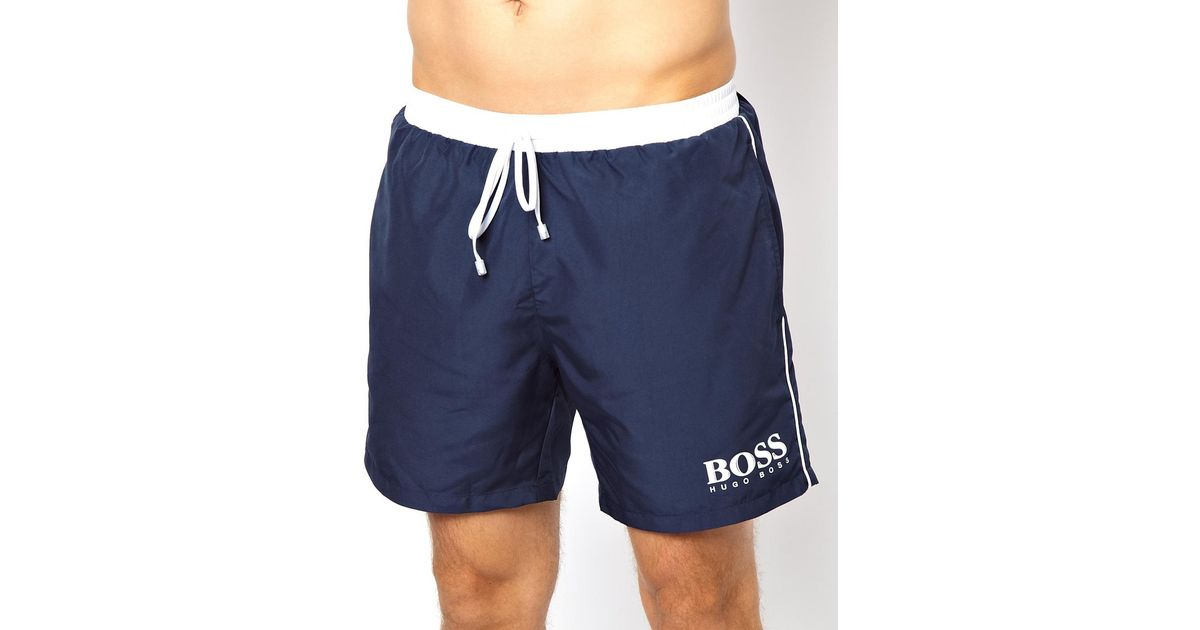 056668f1 ASOS Hugo Boss Star Fish Swim Shorts Exclusive in Blue for Men - Lyst