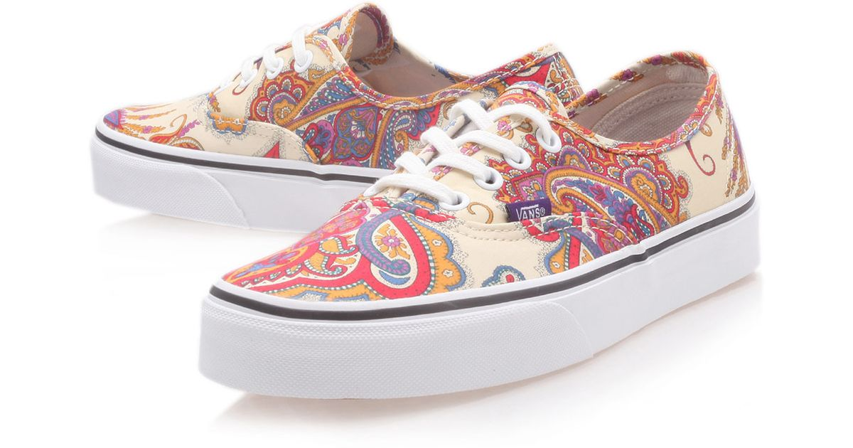 21a38fec6686 Lyst - Vans Cream Flower Paisley Liberty Print Authentic Trainers in White  for Men