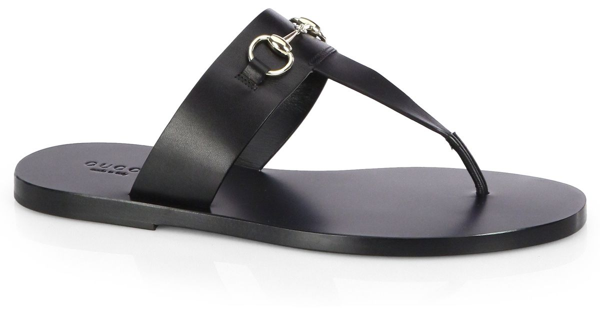 4b7e99029d14 Gucci Marcy Leather Horsebit Thong Sandals in Black - Lyst