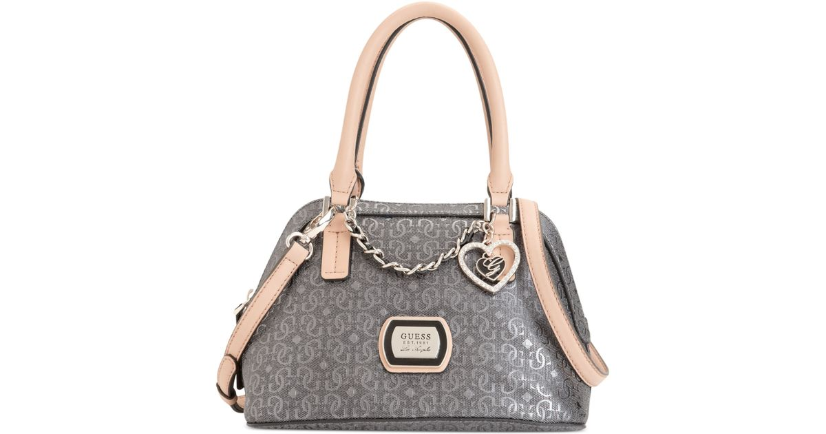 Guess Guess Handbag Margeaux Amour Dome Satchel In Pewter