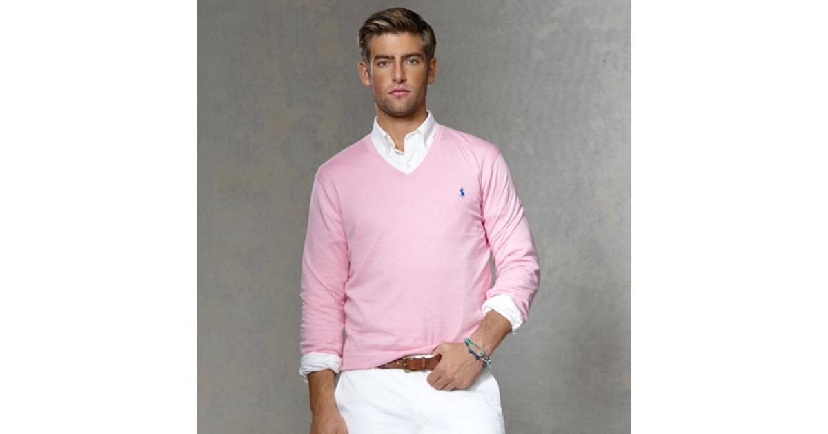 37801820618ae3 Polo Ralph Lauren Pima Cotton Vneck Sweater in Pink for Men - Lyst