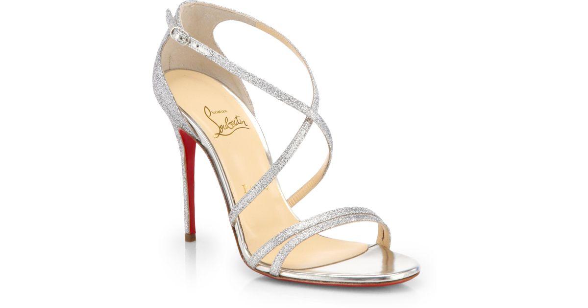 43a89768a3f Christian Louboutin Metallic Gwynitta Glitter Sandals