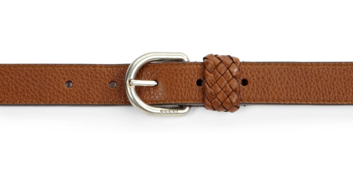gucci leather wrap belt in brown for lyst