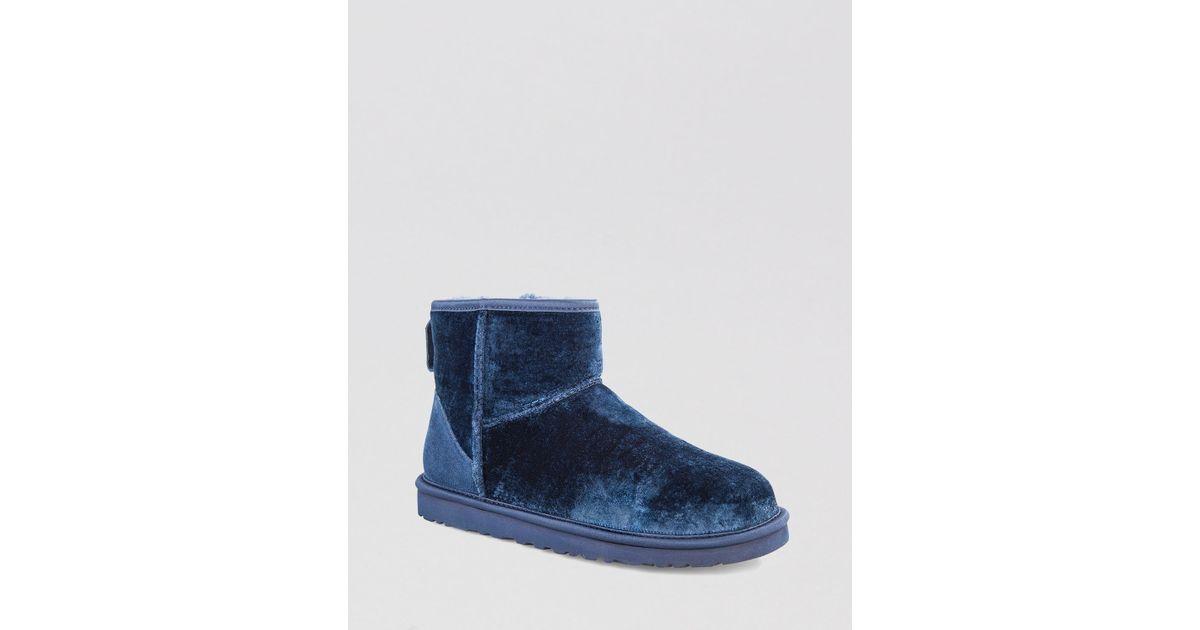 fb15191698f UGG Blue Booties Classic Mini Velvet