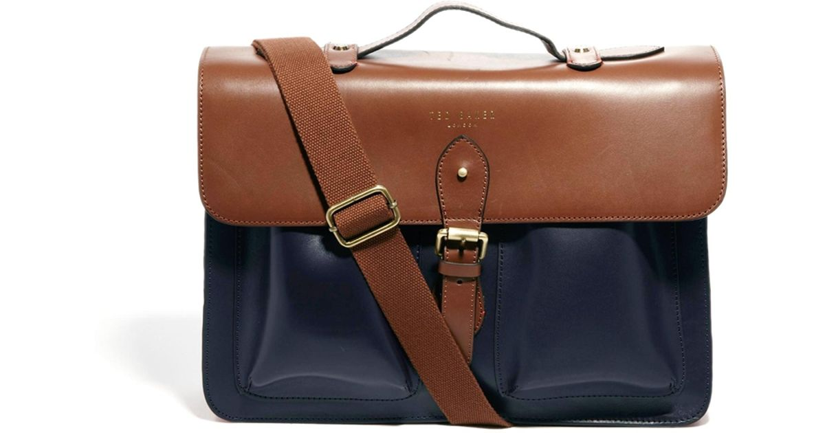efd608859a7593 Lyst - ASOS Ted Baker Mixed Leather Satchel in Brown for Men