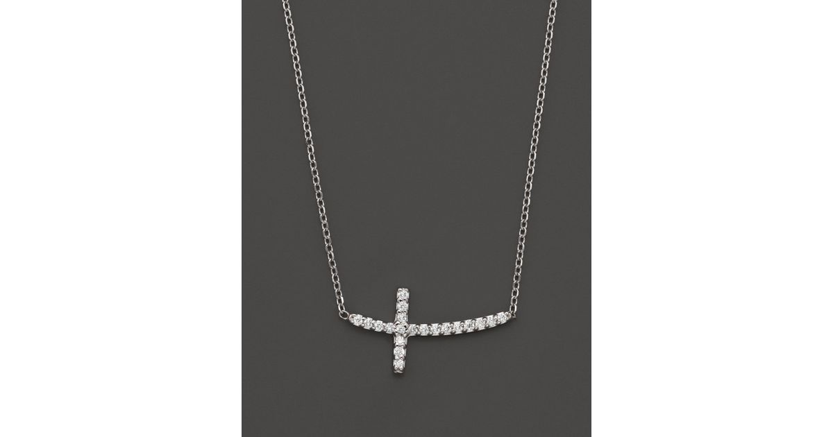 Lyst kc designs small diamond sideways cross pendant necklace in lyst kc designs small diamond sideways cross pendant necklace in 14k white gold 10 ct tw in white mozeypictures Images