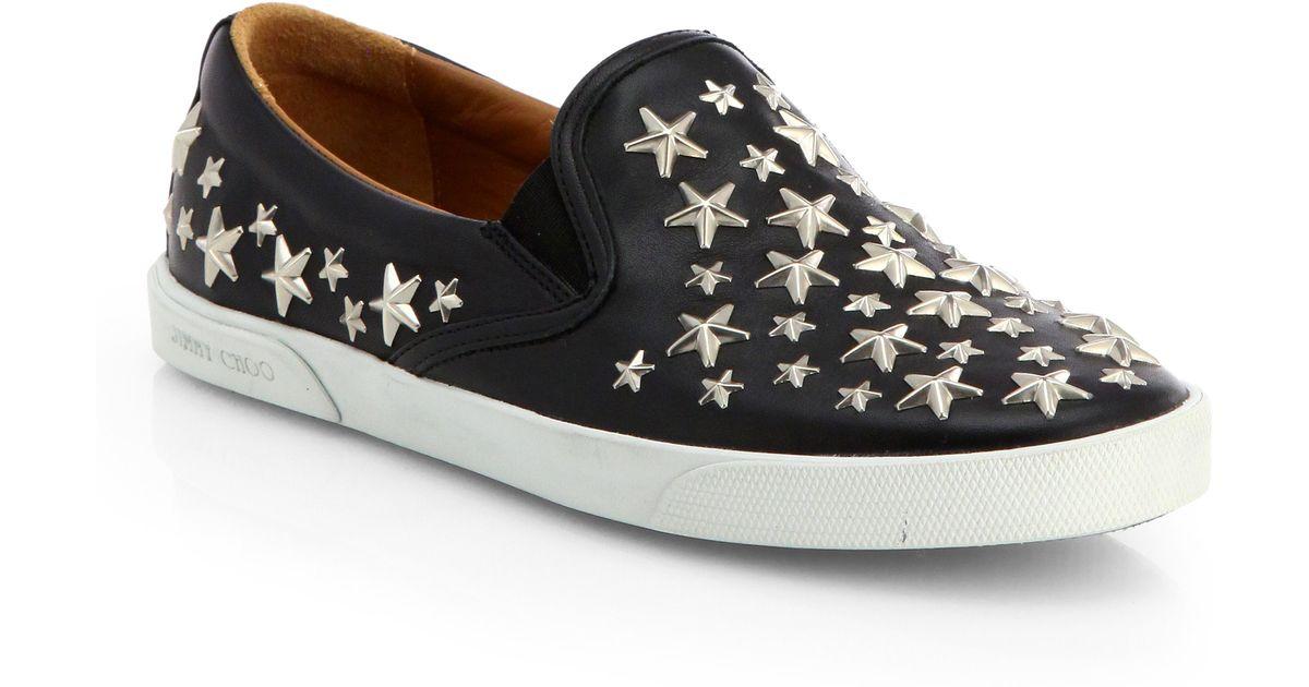 420112a33fb Jimmy Choo Demi Star-studded Leather Slip-ons in Black - Lyst