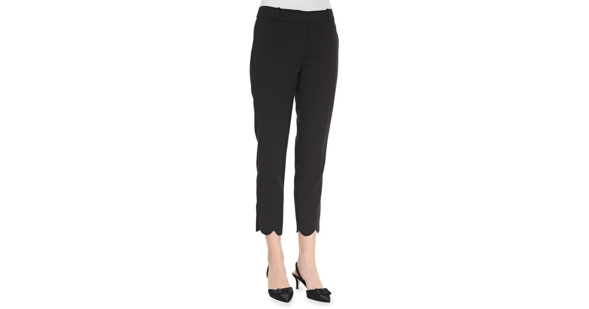 c95dfc81c1 Kate Spade Jackie Scalloped Capri Pants in Black - Lyst