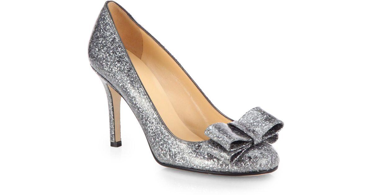 3880724bc83 Kate Spade Krysta Glitter Bow Pumps in Metallic - Lyst