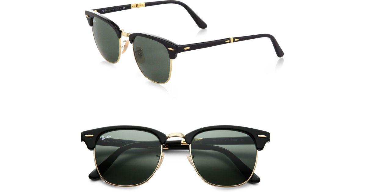 02796bd7b1 Lyst - Ray-Ban Folding Clubmaster Sunglasses in Black