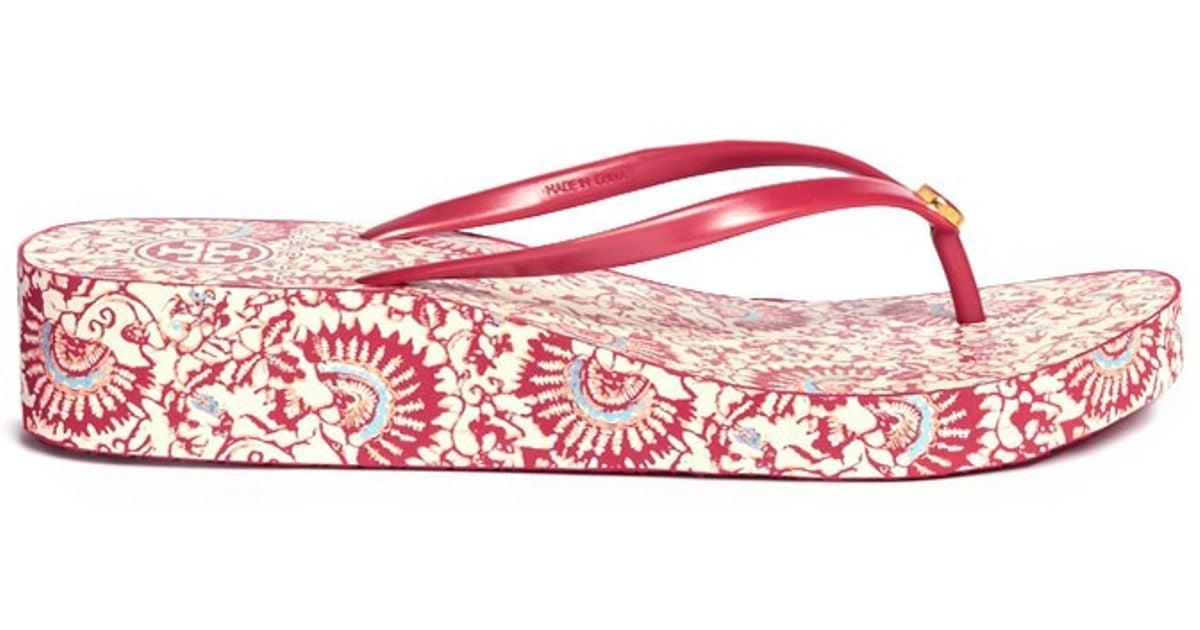 319c48529a457b Lyst - Tory Burch Thandie Wedge Flip-flops in Red