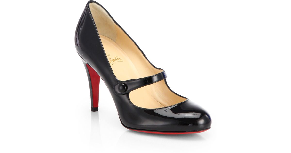 reputable site 9a5e1 8efcf Christian Louboutin Black Charlene Patent Leather Mary Jane Pumps