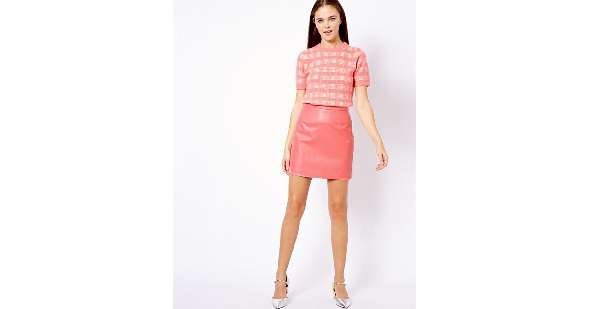 Little mistress Leather Look Mini Skirt in Pink | Lyst