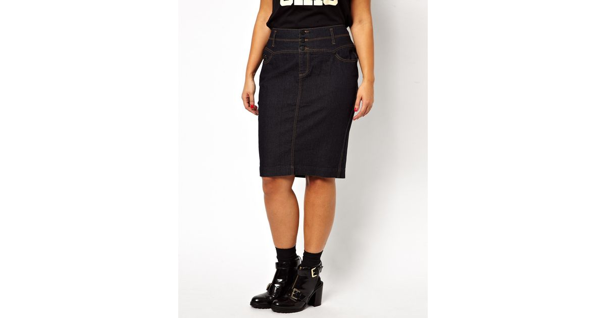 asos new look inspire high waist denim skirt in blue lyst