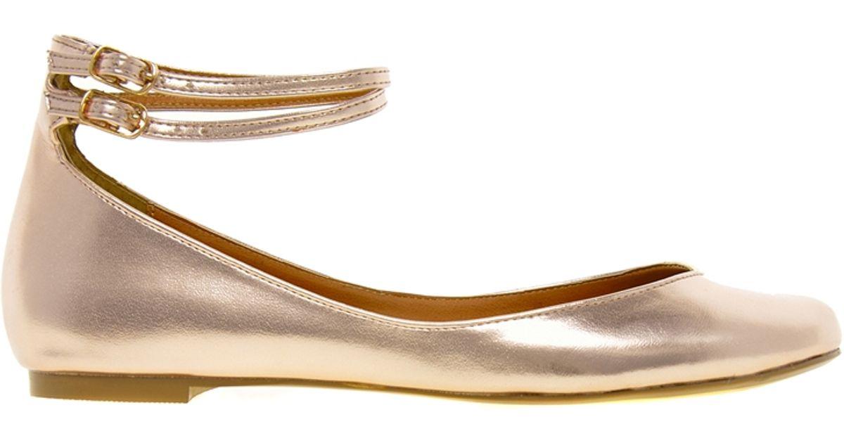 Lyst Asos Lennox Ballet Flats In Metallic