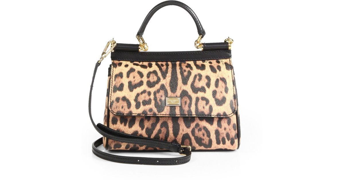 b3b65f65d845 Lyst - Dolce   Gabbana Women s Sicily Leopard Print Leather Top Handle  Satchel - Leopard in Brown