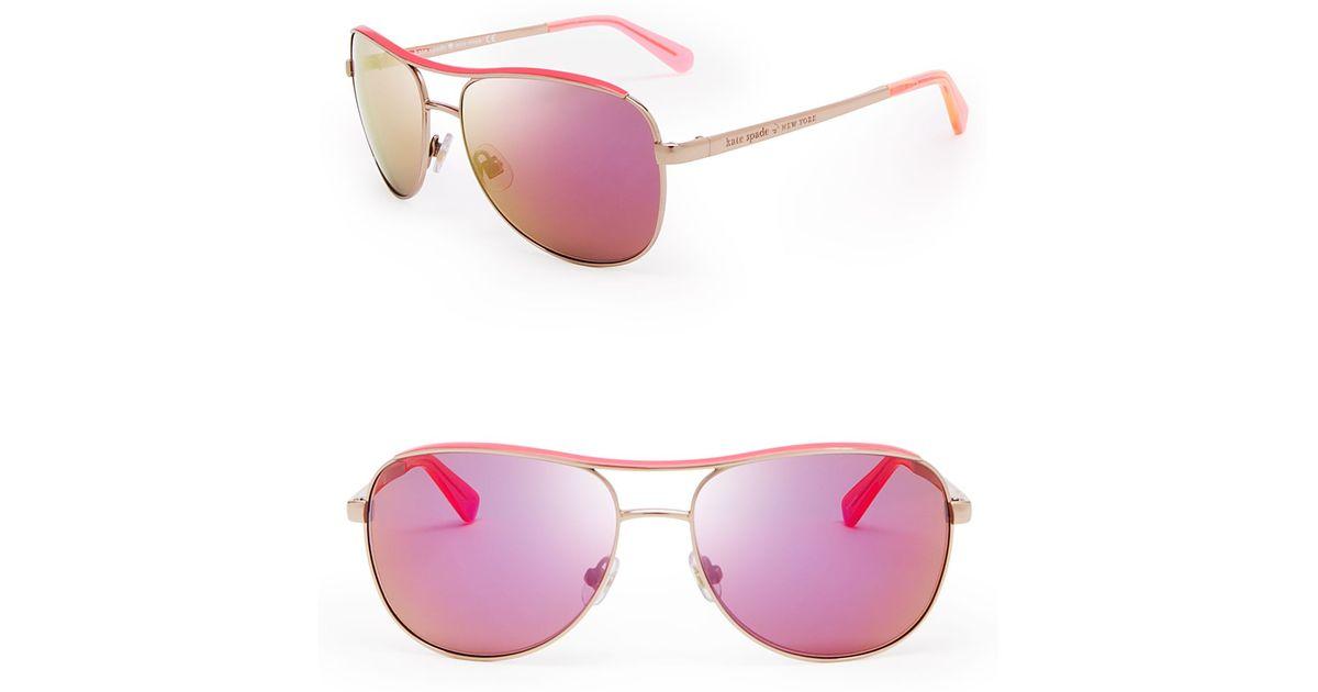 b20e0f684c Lyst - Kate Spade Dusty Mirrored Aviator Sunglasses in Pink
