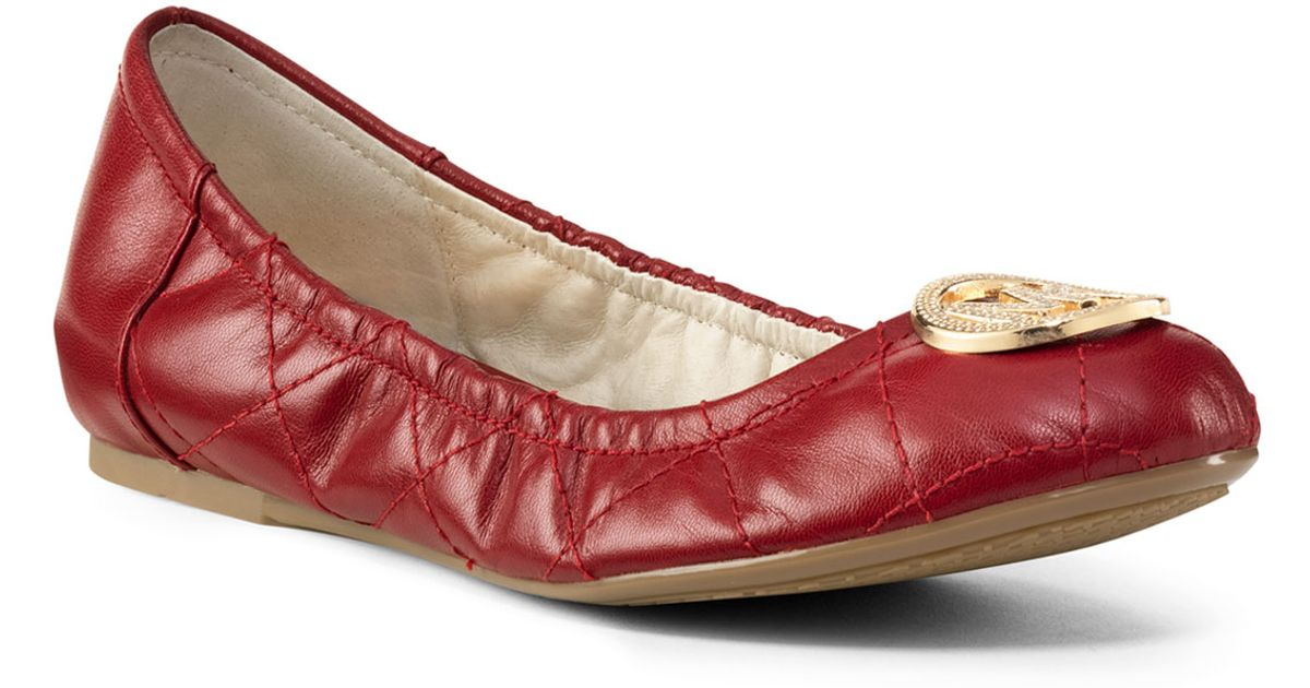 24cabafd264 Lyst - Michael Kors Michael Fulton Quilted Ballet Flat in Red