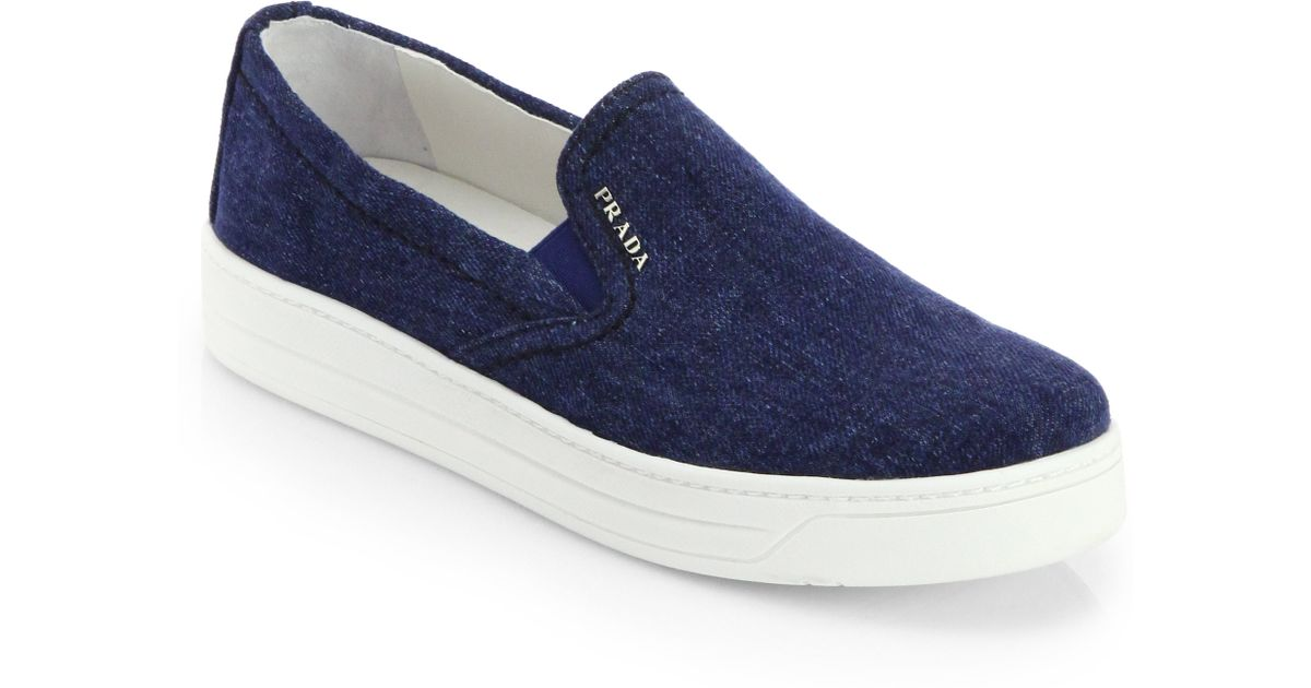 cheap for discount new items timeless design Prada Blue Denim Laceless Sneakers