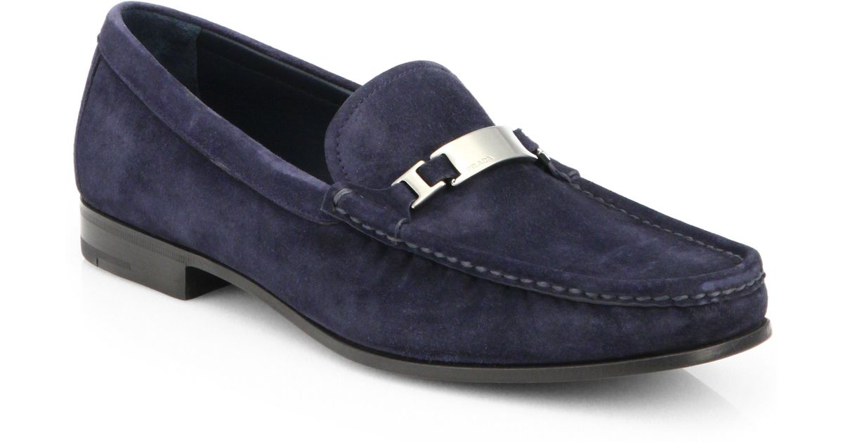 Lyst - Prada Suede Dress Loafers in Blue for Men a7cf0de9b